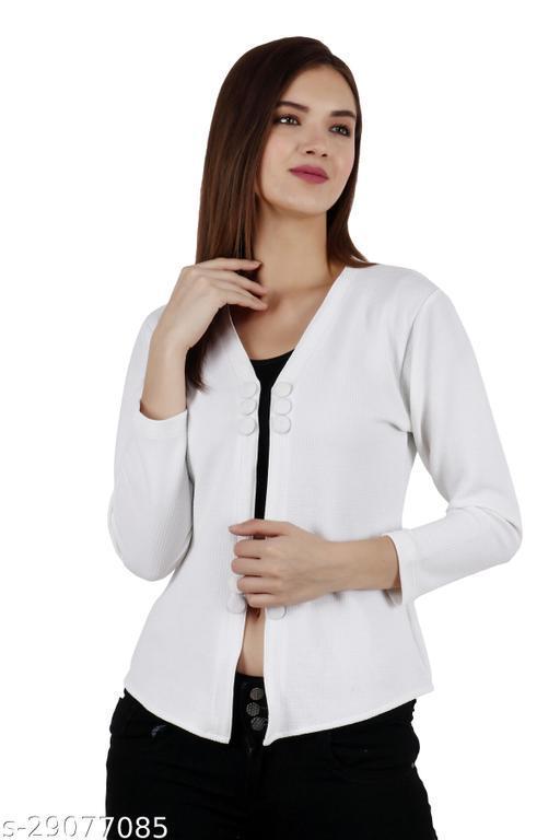 Women White Solid 3 Button Shrug