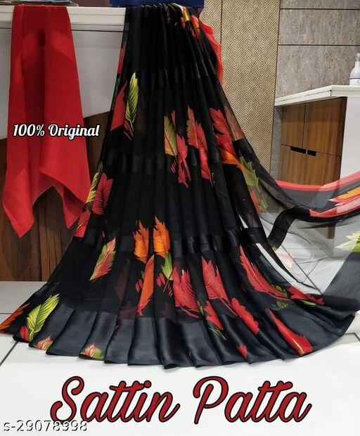 Trendy Sattin Patta Saree With Blouse