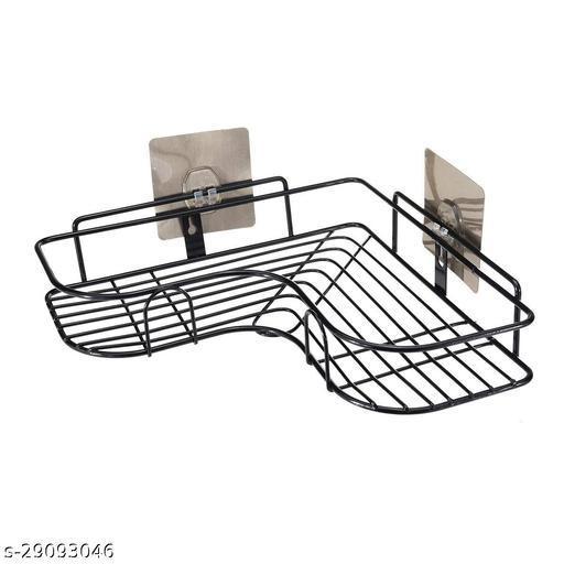 Self-Adhesive Metal Bathroom Corner Rack Storage Shelves, Bathroom Storage Rack Corner, Bathroom Corner Shelf Organizer Storage, Bathroom Shelf/Shelves Corner - Black
