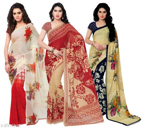 Stylish Georgette Saree Combo ( Pack Of 3 )