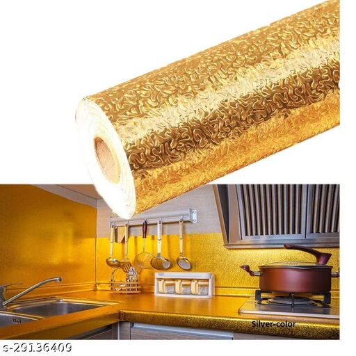 Amar 2m Aluminum Foil Stickers Roll Golden, Oil Proof, Kitchen Backsplash Wallpaper Self-Adhesive Wall Sticker Anti-Mold and Heat Resistant for Walls Cabinets Drawers and Shelves - Golden  (200 x 60 cm)
