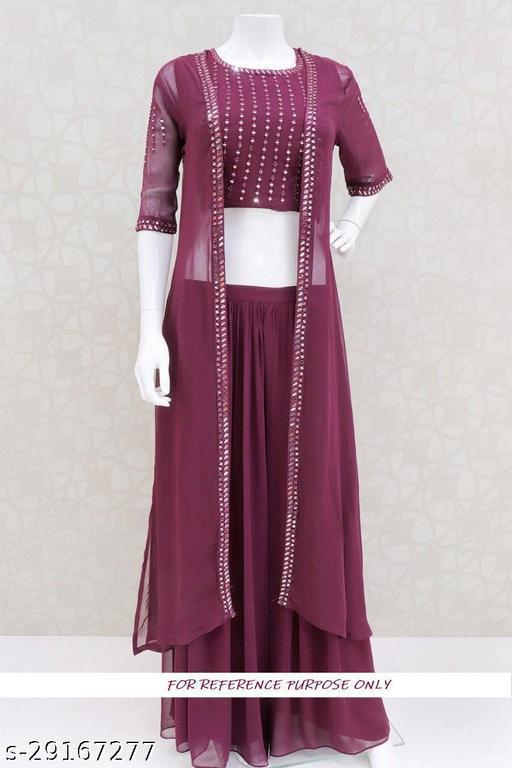 Jenish Fashion Gorgette Jacket With Lehnga Choli Semi Stitched