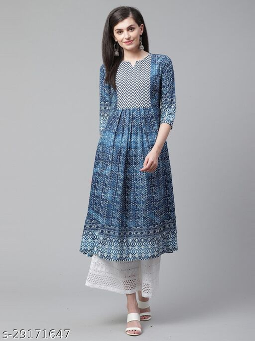 Indo Era Blue Printed Anarkali Kurtis