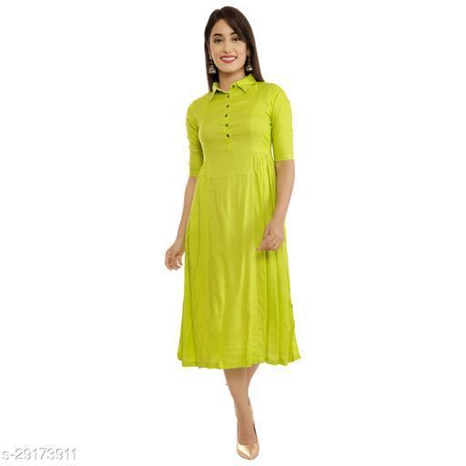 Trendy  women rayon  fit and flare calf length collar kurti