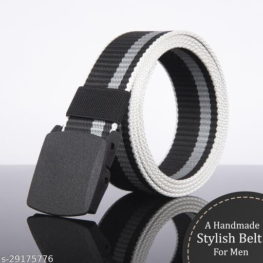 Men's Casual And Formal Black Canvas Belt