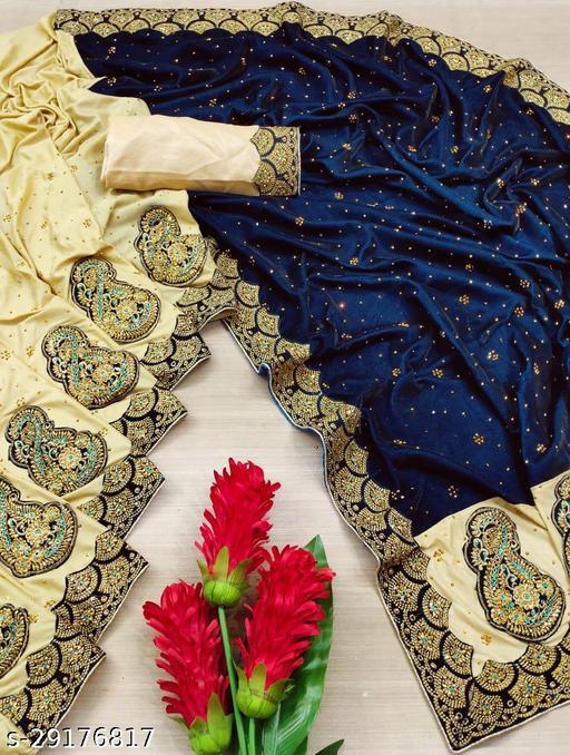Comfy Embellished Half And Half Velvet Sarees