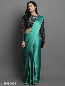 New Teal Color Beautiful Satin Saree With Elegant Velvet Sequence Blouse