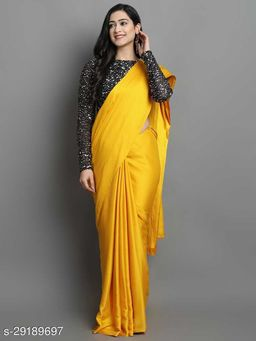 New Yellow Color Beautiful Satin Saree With Elegant Velvet Sequence Blouse