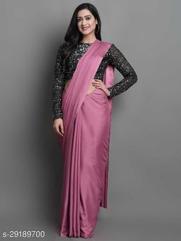 New Pink Color Beautiful Satin Saree With Elegant Velvet Sequence Blouse