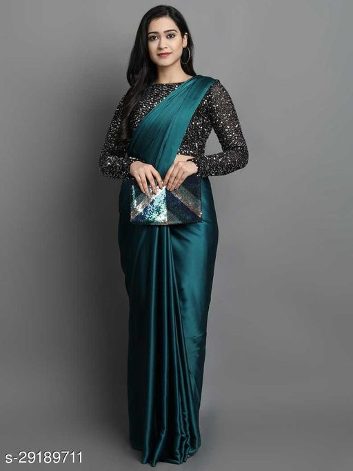 New Rama Color Beautiful Satin Saree With Elegant Velvet Sequence Blouse