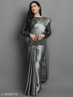 New Grey Color Beautiful Satin Saree With Elegant Velvet Sequence Blouse
