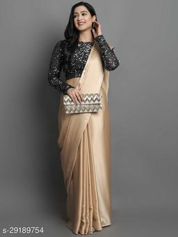 New Beige Color Beautiful Satin Saree With Elegant Velvet Sequence Blouse