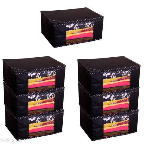 Trendy Spun Bonded Non-Woven Printed Saree Covers Black Saree ( Pack Of 7 )