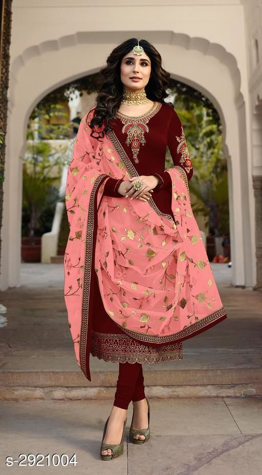 Classy Satin Georgette Embroidered Suit & Dress Material