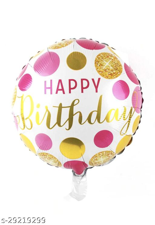 Happy Birthday Round Foil Ballon 18 inch  Pink Polka (Party Monkey)