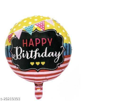 Happy Birthday Round Foil Ballon 18 inch Bunting (Party Monkey)