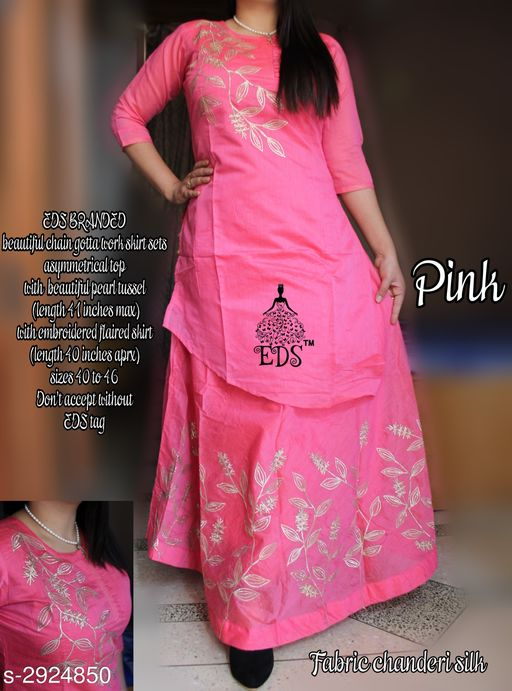 Kurta Sets Women's Embroidered Chanderi Silk Kurta set with Skirt  *Fabric* Kurti - Chanderi Silk, Skirt - Chanderi Silk    * Sleeves* 3/4th Sleeves Are Included    * Size* Kurti - 40 in,42 in 44 in, 46 in, Skirt - 32 in, 34 in, 36 in,  38 in    * Length* Kurti- Up To 41 in, Skirt - Up To 40 in    * Type* Stitched  *Color* Pink    * Description* It Has 1 Piece Of Kurti With 1 Piece Of Skirt    * Work* Kurti - Embroidered, Skirt - Embroidered  *Sizes Available* M, L, XL, XXL *    Catalog Name: Women's Embroidered Chanderi Silk Kurta Sets CatalogID_398328 C74-SC1003 Code: 1601-2924850-