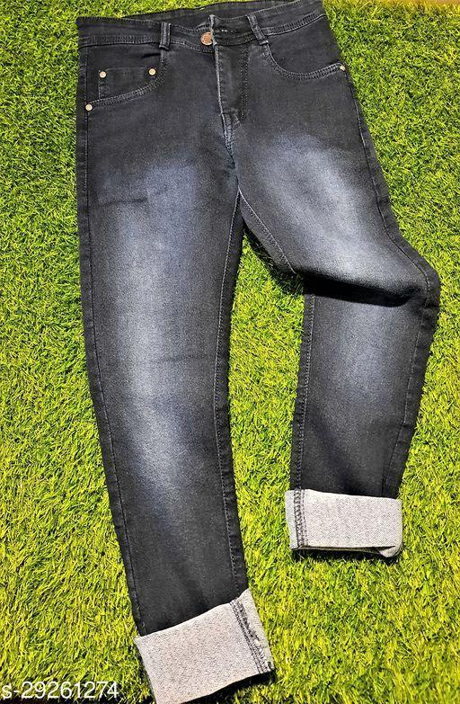 KCOY Men's Strechable Denim Jeans BLACK