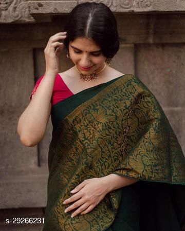 Festive Gorgeous Women's shubh  Soft Raw Silk  Saree with Blouse