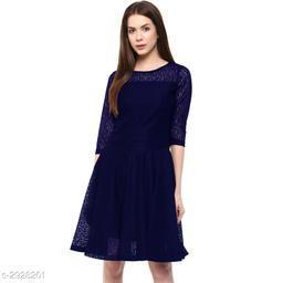 Women's Lace Navy Blue Net Dress