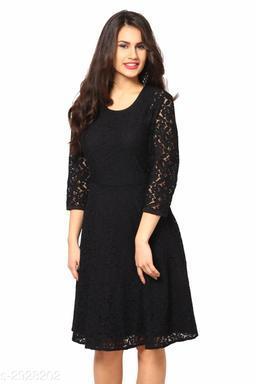 Women's Lace Black Net Dress