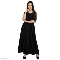 Women's Solid Black Crepe Dress