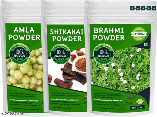 Shikakai Amla Brahmi Powder for Hair Care(Growth, Fall, Color, Conditioner) Combo - 100Gram (Pack of 3)