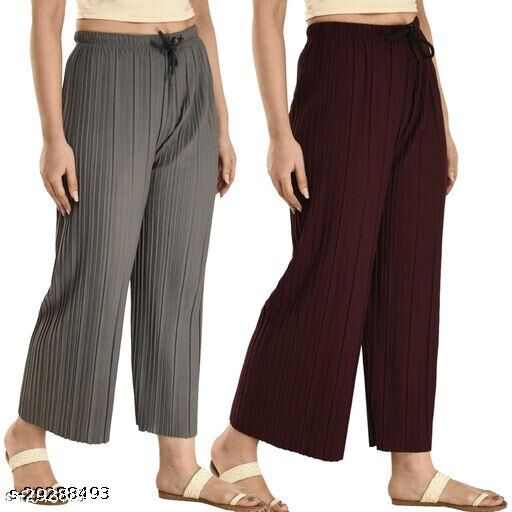 Relaxed Women Pleated Solid Grey&Brown Palazzos