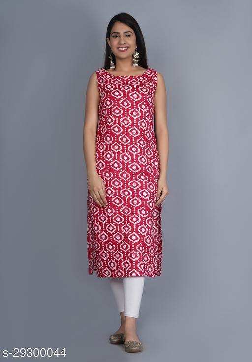 PEHNAWA Rayon Printed Straight kurta For womens (Red)