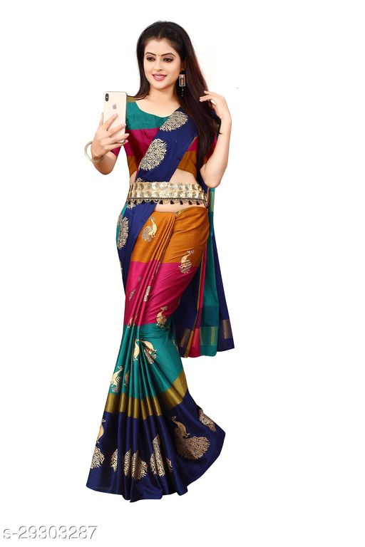 Latest new desinger Soft Silk Saree With Rich Border With Floral printed Silk saree