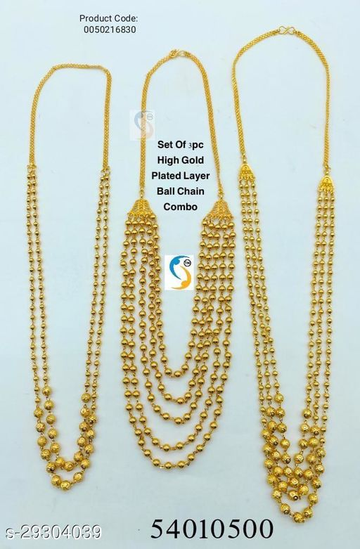 High Gold Plated Layer Ball Chain Combo ( 2 Layer , 3 Layer , 5 Layer )