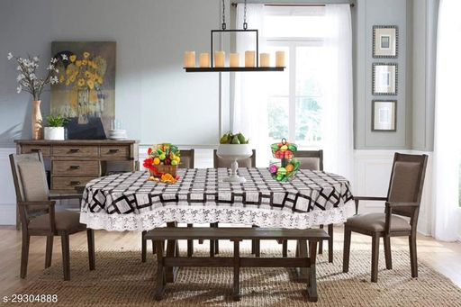 PVC Printed 6 Seater Oval Dining Table Cover(Size-54x78 Inches Oval.) Design-6