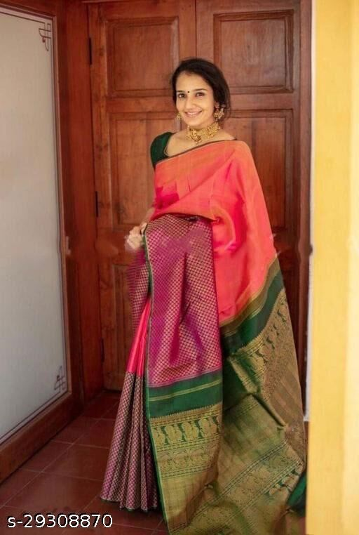 Designer Kanjeevaram Lichi Silk Saree With Blouse Piece
