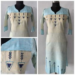 Sale!!!!!!!!!Blue Cotton Straight Embroidered Kurta with side pocket