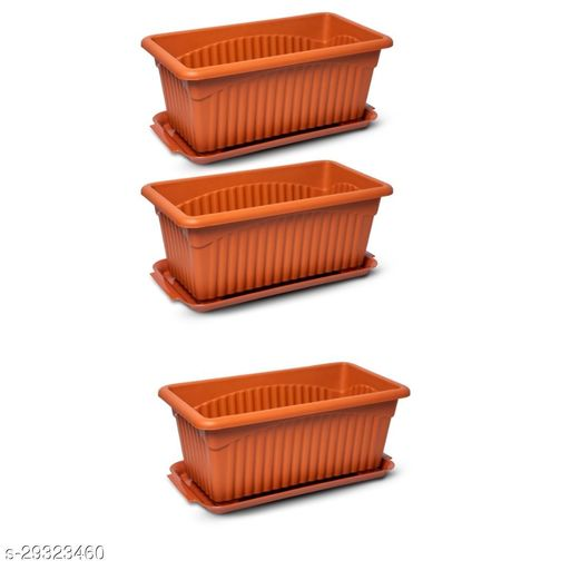 GreenLive 13inch Rectangular Planter Pot with Tray Pack of 3 ( Brown)