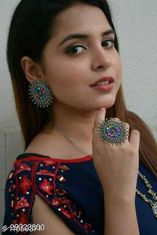 Designer Beautiful Antique Earrings with Ring Combo for Women and Girls