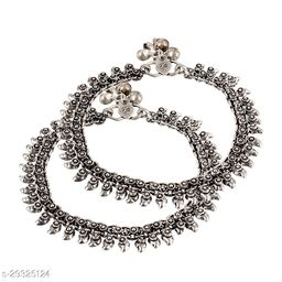 Oxidized Antique Design Latest Style Traditional Payal pajeb Ethnic Anklets 2 PCS Alloy Anklet