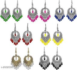 7Pairs Stylish Combo Lively Colors Golden Silver Oxidized Traditional Stud ChandBali Jhumki/Jhumka Earrings for Women and Girls