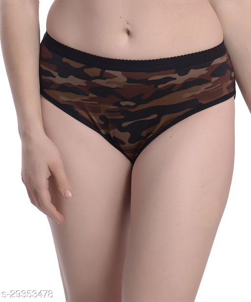 Women Hipster Brown Polyester Panty