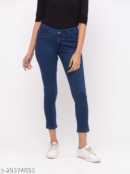 ZOLA Dx Blue Pencil Fit Calf Length Jeans for Women(180540Dx Blue)