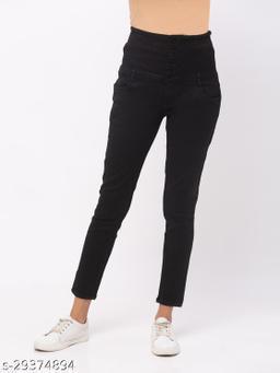 ZOLA Black Slim Fit Ankle Length Stretchable Jeans(573203Black)