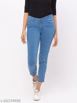 ZOLA Stone Blue Pencil Fit Calf Length Jeans for Women(180540Stone Blue)