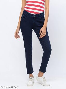 ZOLA Killer Blue Pencil Fit Calf Length Jeans for Women(180540Killer Blue)
