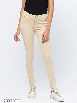 ZOLA Cool Fawn Pencil Fit Full Length Jeans for Women(180511Fawn)