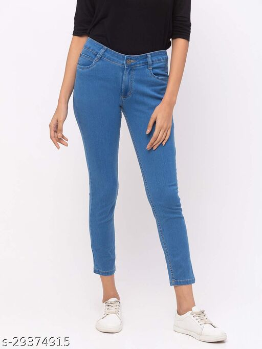 Stone Blue Ankle Length Jeans for Women(180516Stone Blue)