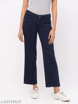 Killer Blue Straight Ankle Length Jeans for Women(180570Killer Blue)