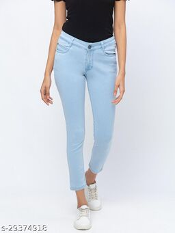 Ice Blue Ankle Length Jeans for Women(180516Ice Blue)