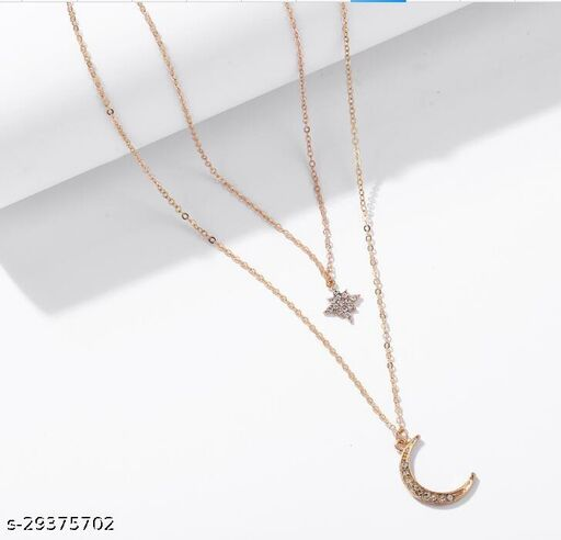 Stylish Double layered moon Necklace for Women and Girls