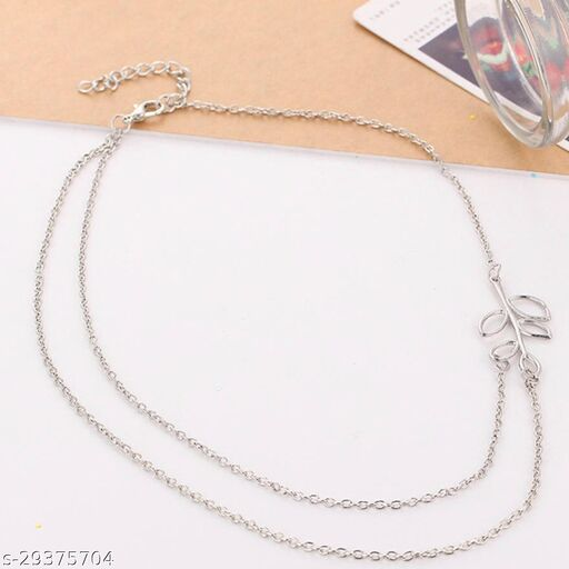 Stylish Silver Leaf Necklace for Women and Girls