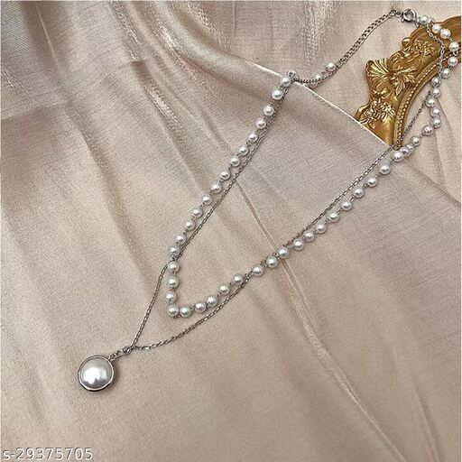 Stylish Silver Pearl Necklace for Women and Girls